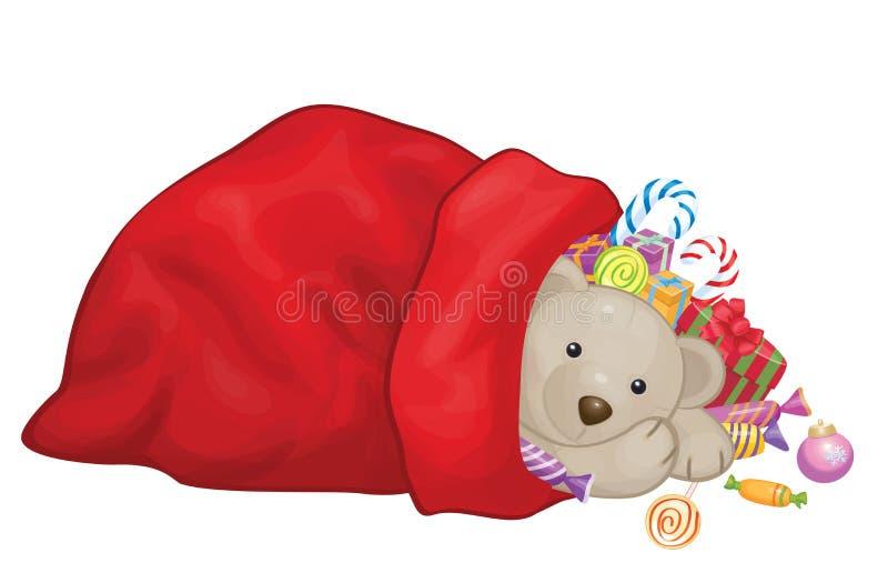 Saco de Santa Claus do vetor com brinquedos ilustração stock