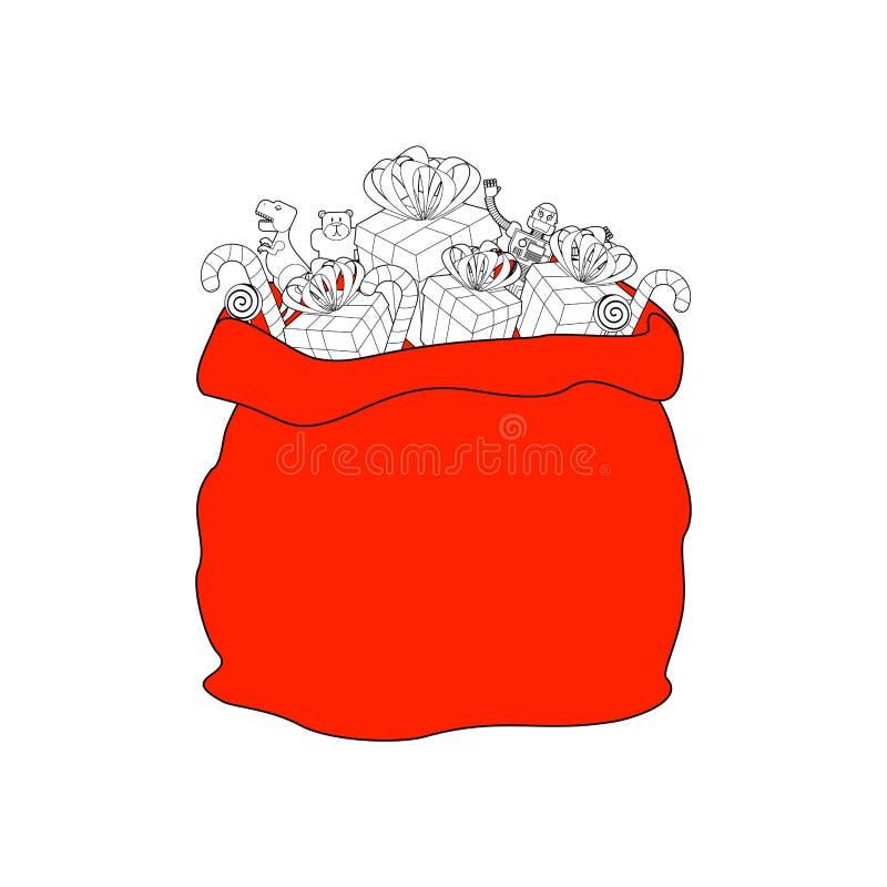 Saco de Santa com presente Grande vermelho do saco do Natal presente sackful para ilustração stock