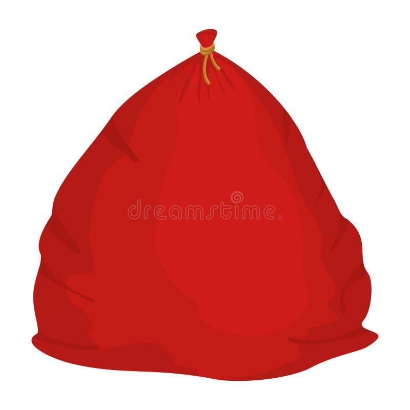 Saco de Santa com presente grande vermelho do saco do Natal presente sackful para ilustração royalty free