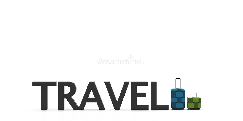 saco de viagem da rendição 3d com cor de luz agradável do fundo ilustração royalty free