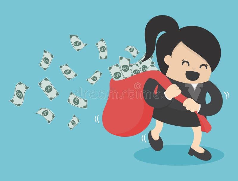 Saco del dinero del control del funcionamiento de la mujer de negocios stock de ilustración