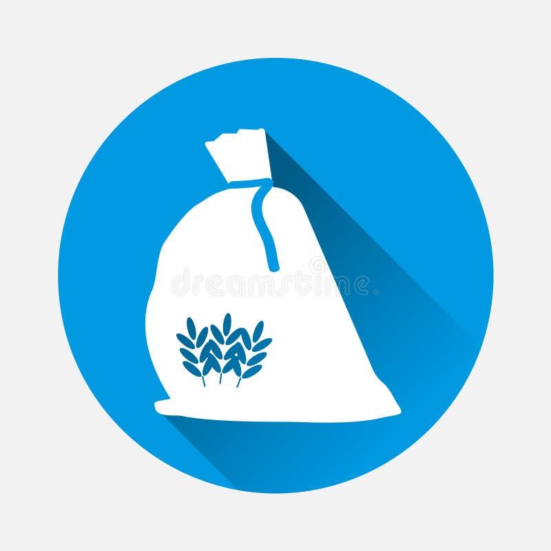 Saco do ícone do vetor da farinha Trigo do cereal, aveia, centeio com um s liso ilustração stock