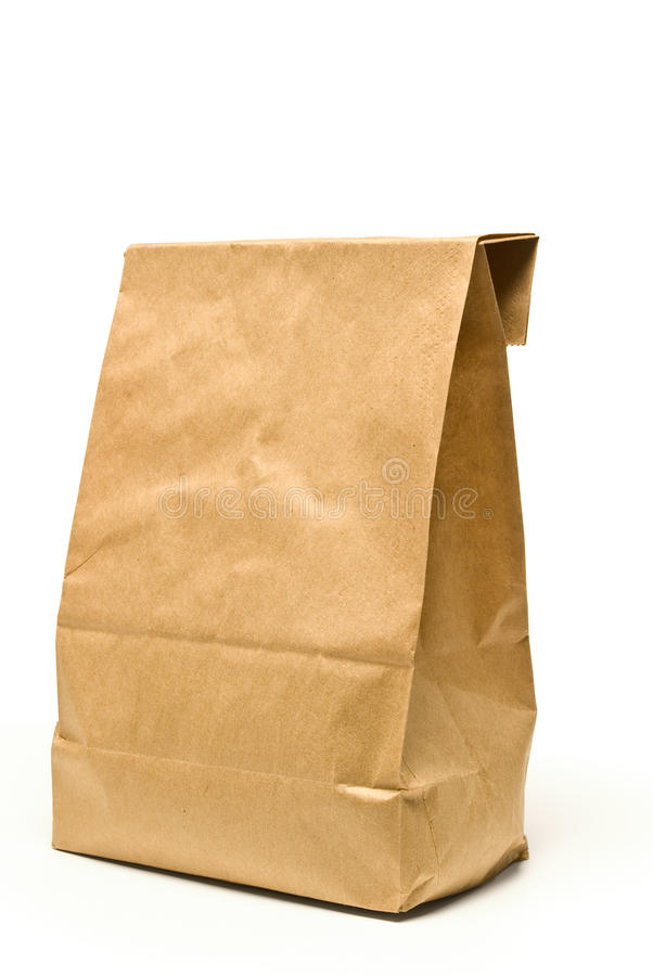 Saco do almoço do papel de Brown com sombra imagens de stock royalty free