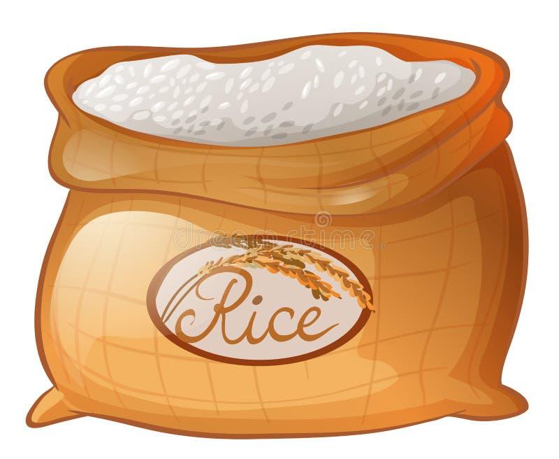 Saco do arroz no fundo branco ilustração royalty free
