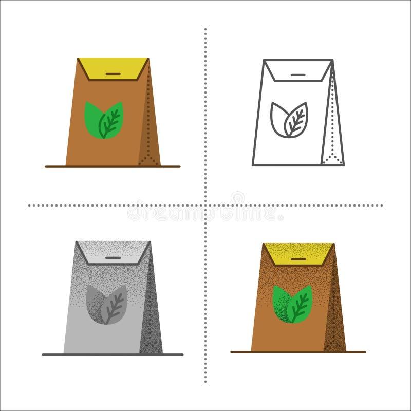 Saco do bloco do papel do ofício do chá ilustração stock