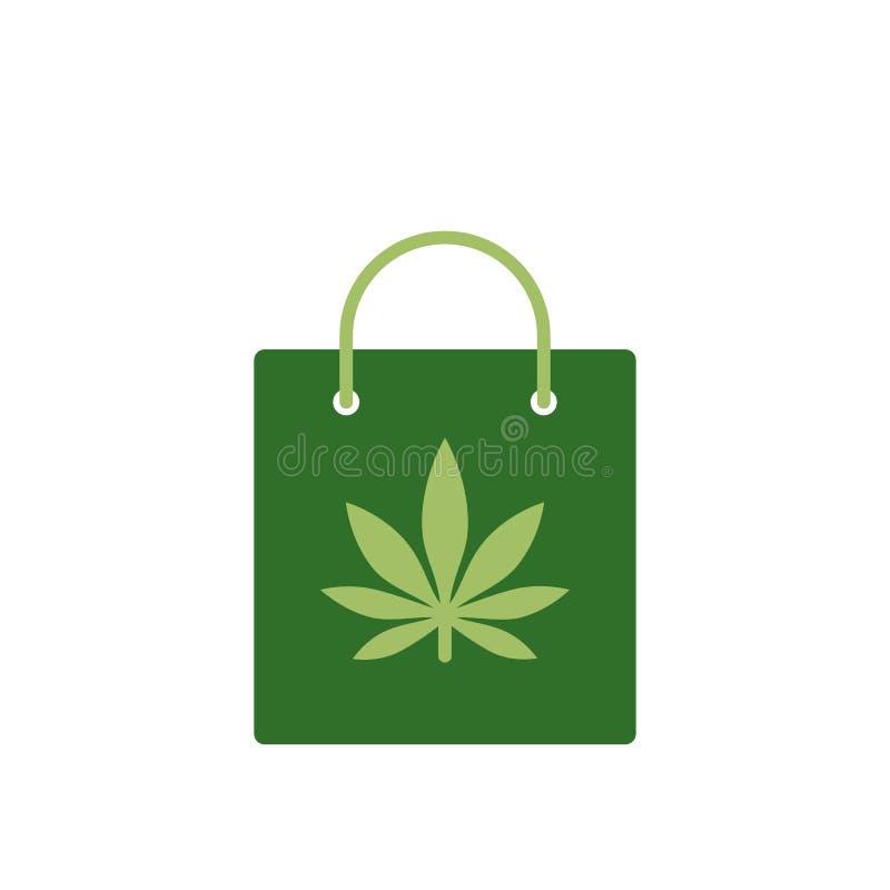 Saco do cannabis medicinal Saco com ícone da marijuana Ícone médico da marijuana Símbolo da droga ilustração royalty free