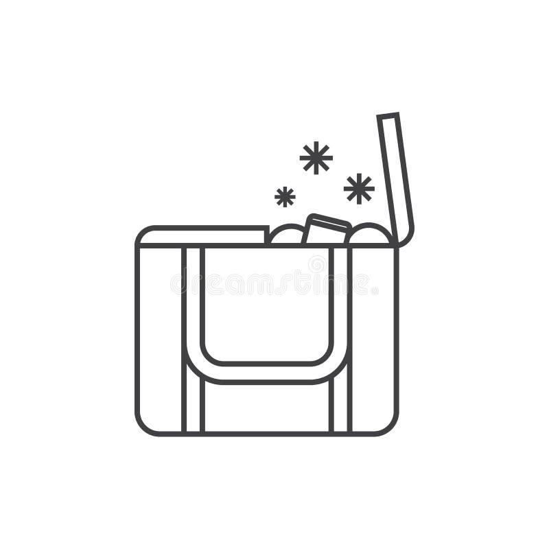 Saco do congelador da praia ou ícone da lancheira ilustração royalty free