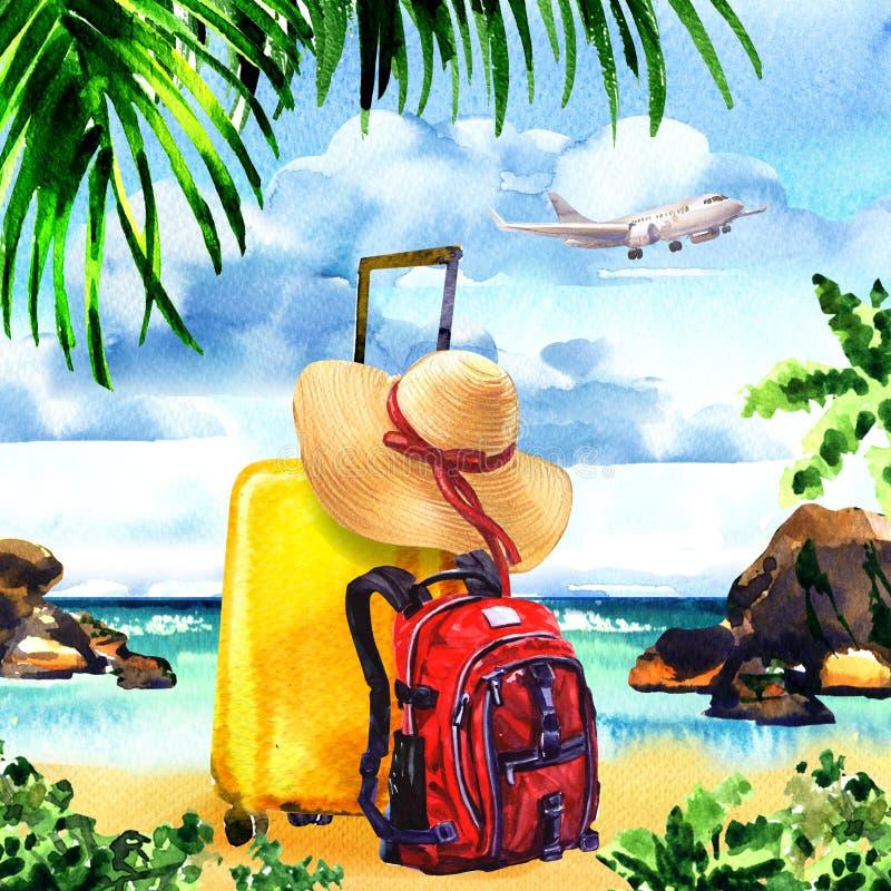 Saco do curso com chapéu de palha e trouxa na ilha com palmeiras, avião de voo do paraíso no céu, horas de verão, férias ilustração stock