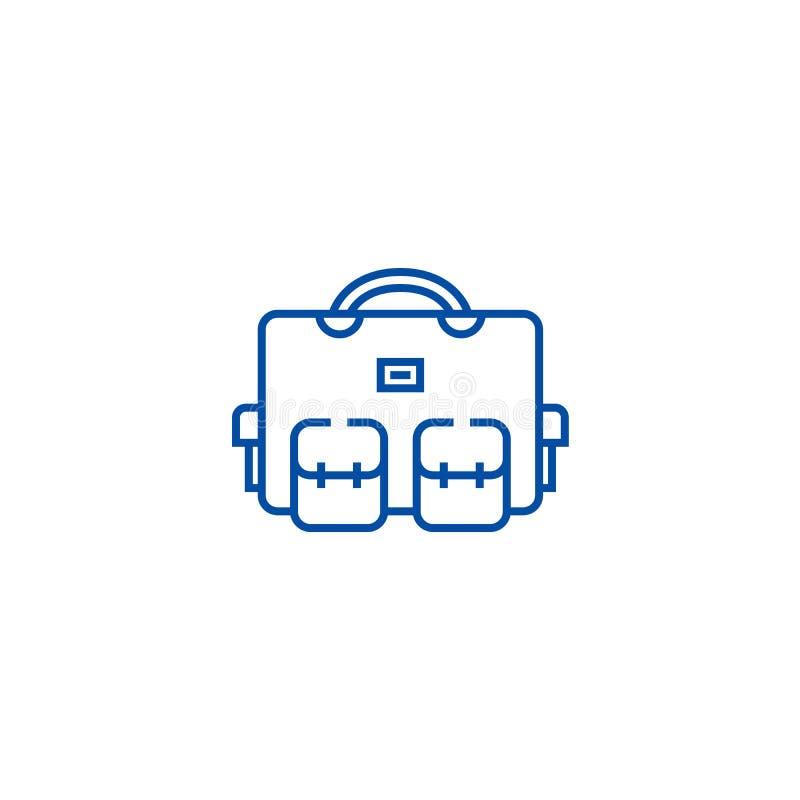 Saco do curso, linha conceito do caso das férias do ícone Saco do curso, símbolo liso do vetor do caso das férias, sinal, ilustra ilustração do vetor