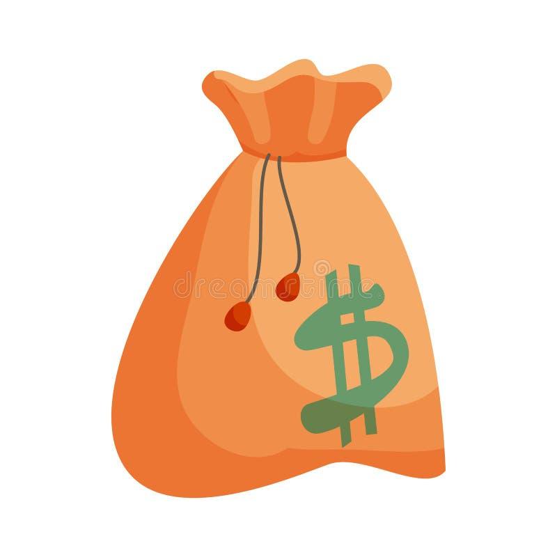 Saco do dinheiro com ícone do sinal de dólar, estilo dos desenhos animados ilustração stock