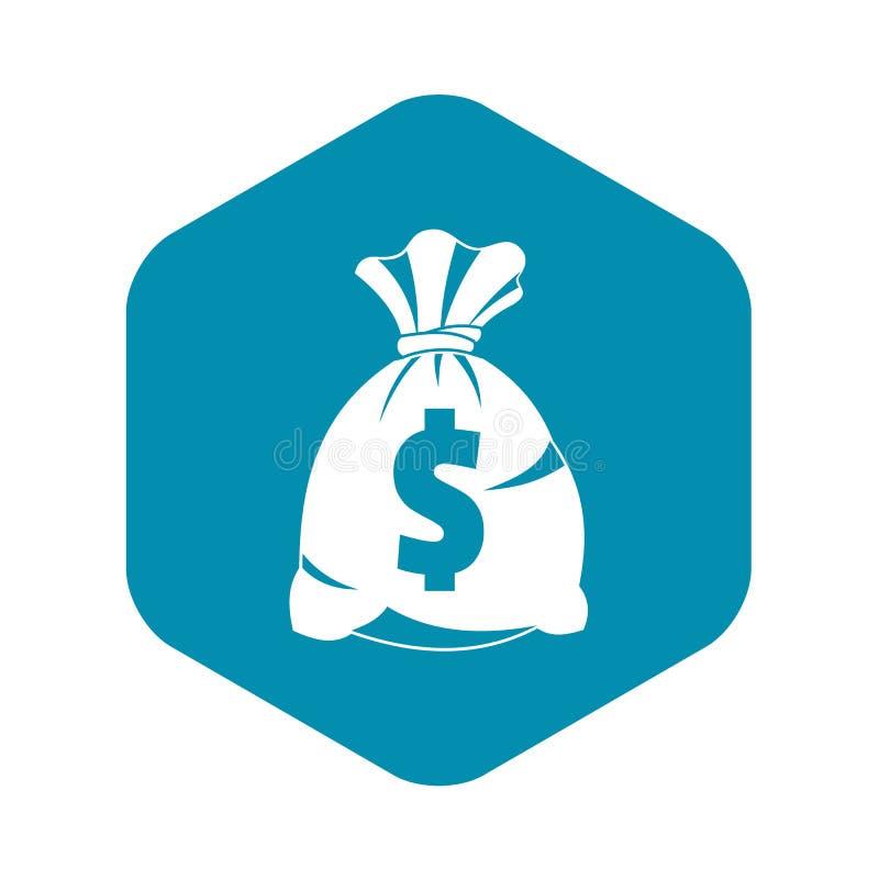 Saco do dinheiro com ícone do sinal do dólar americano, estilo simples ilustração royalty free