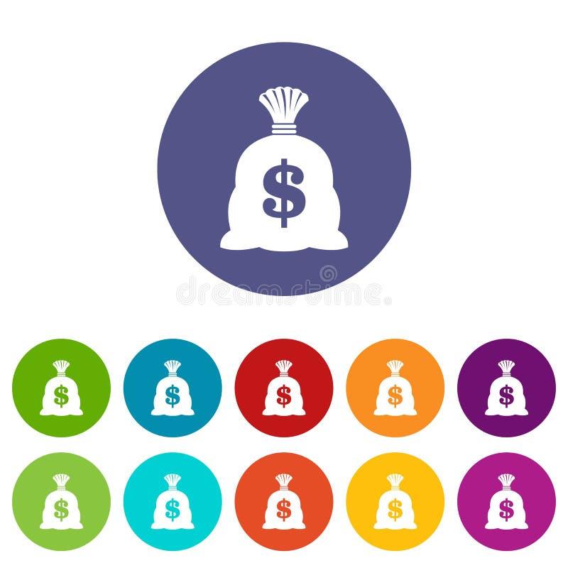 Saco do dinheiro com ícones ajustados do sinal do dólar americano ilustração royalty free