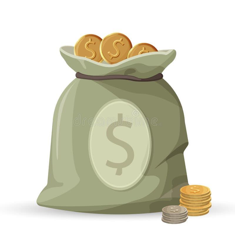 Saco do dinheiro com as moedas douradas e de prata isoladas ilustração stock