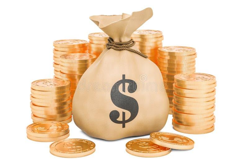 Saco do dinheiro com dólares e as moedas douradas ao redor, rendição 3D ilustração do vetor