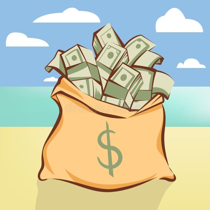 Saco do dinheiro com grupos dos dólares no illustr da praia da ilha ilustração do vetor