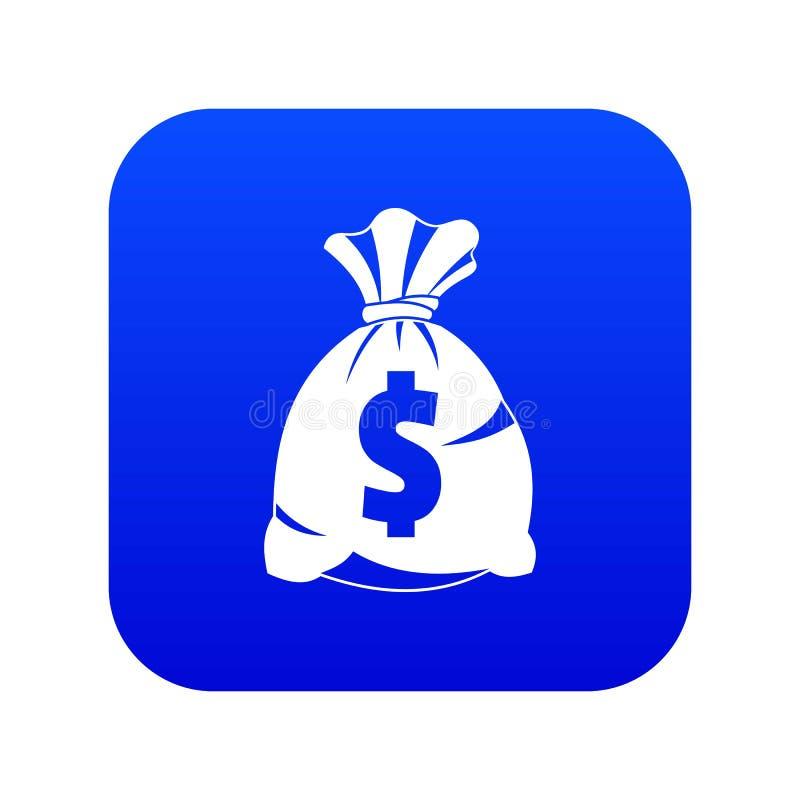 Saco do dinheiro com o azul digital do ícone do sinal do dólar americano ilustração stock