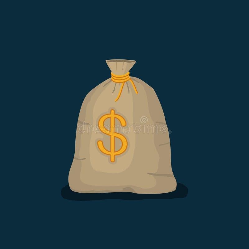Saco do dinheiro com o sinal do dólar americano isolado na obscuridade - fundo azul estilo liso dos desenhos animados do ícone co ilustração royalty free