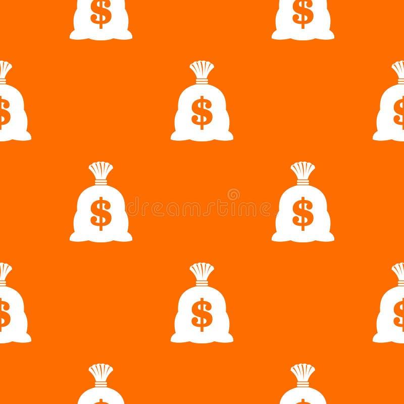 Saco do dinheiro com o teste padrão do sinal do dólar americano sem emenda ilustração royalty free