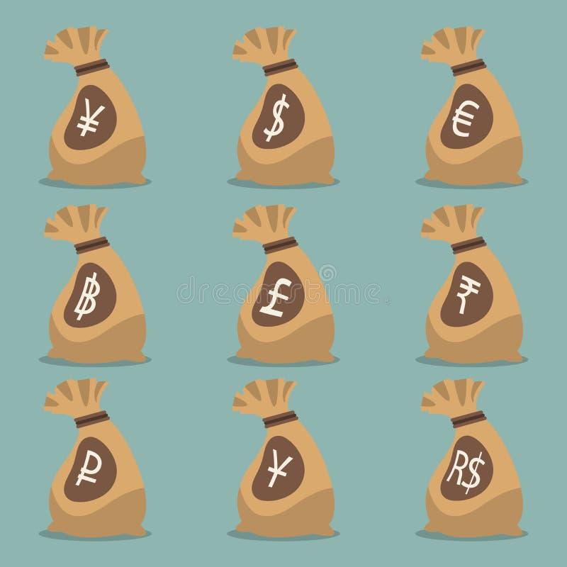 Saco do dinheiro com símbolo de moeda internacional ilustração royalty free