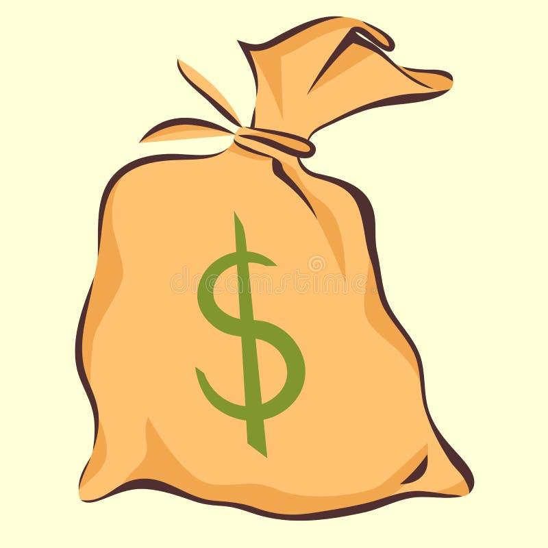 Saco do dinheiro com sinal de dólar, estilo dos desenhos animados, ilustração do vetor ilustração do vetor