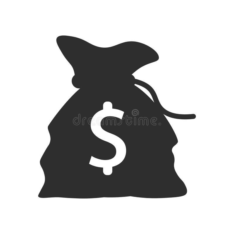 Saco do dinheiro com sinal e símbolo do vetor do ícone do sinal de dólar isolado no fundo branco, saco do dinheiro com conceito d ilustração do vetor