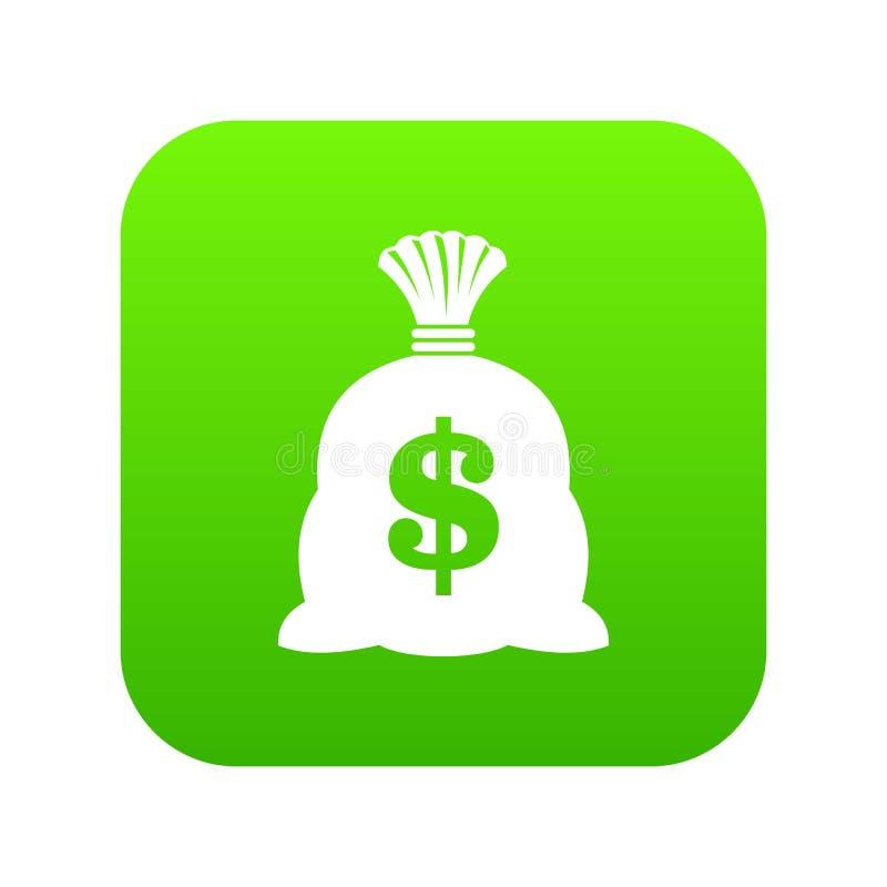 Saco do dinheiro com verde digital do ícone do sinal do dólar americano ilustração do vetor