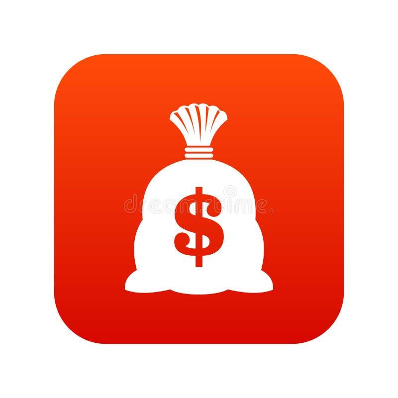 Saco do dinheiro com vermelho digital do ícone do sinal do dólar americano ilustração royalty free