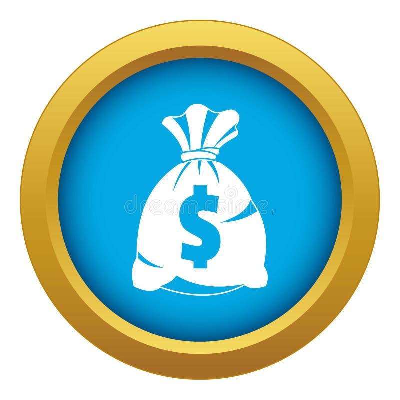 Saco do dinheiro com vetor azul do ícone do sinal do dólar americano isolado ilustração royalty free