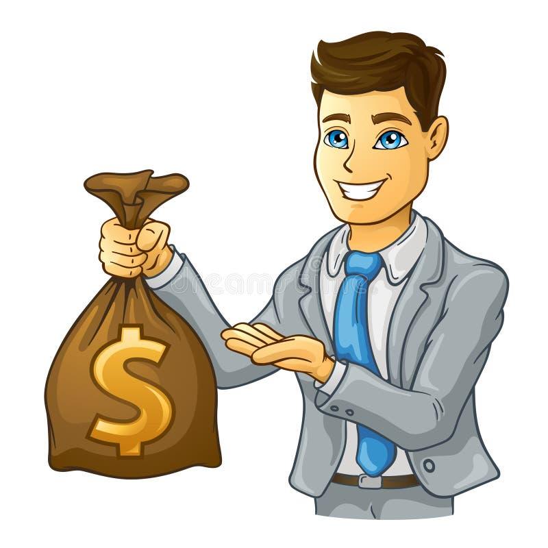 Saco do dinheiro da terra arrendada do homem de negócio ilustração do vetor