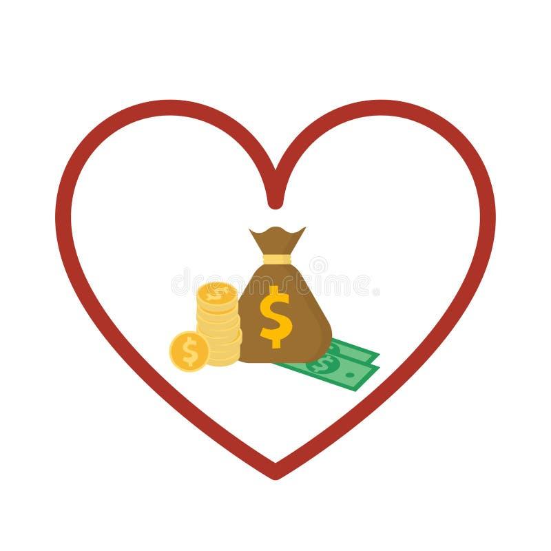 Saco do dinheiro no sinal do coração Doando o conceito do dinheiro Ilustração lisa do vetor do estilo ilustração do vetor