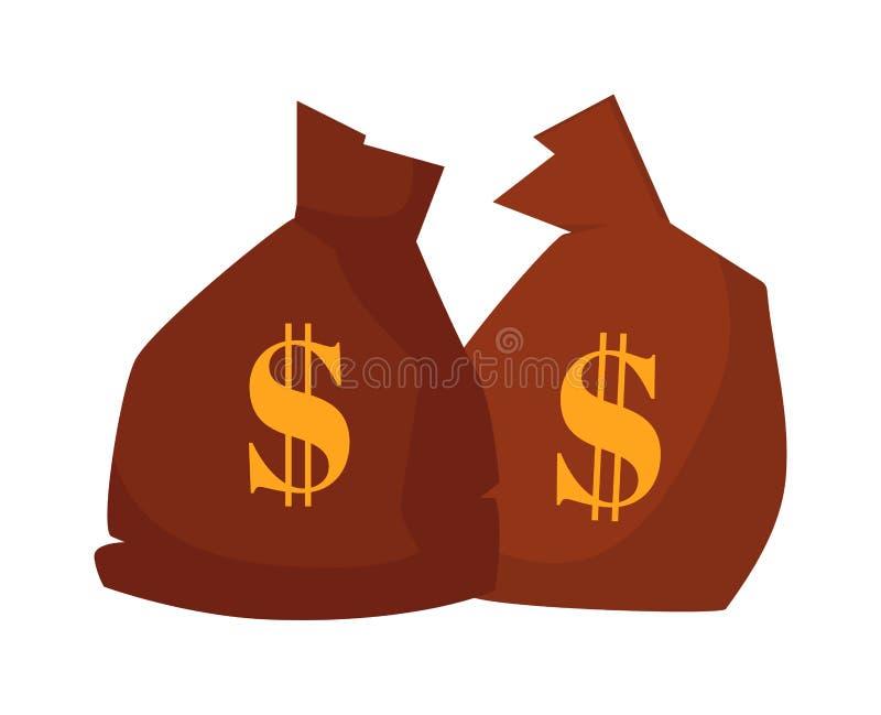 Saco do dinheiro ou ícone do estilo dos desenhos animados do saco com ilustração do vetor do dólar ilustração stock