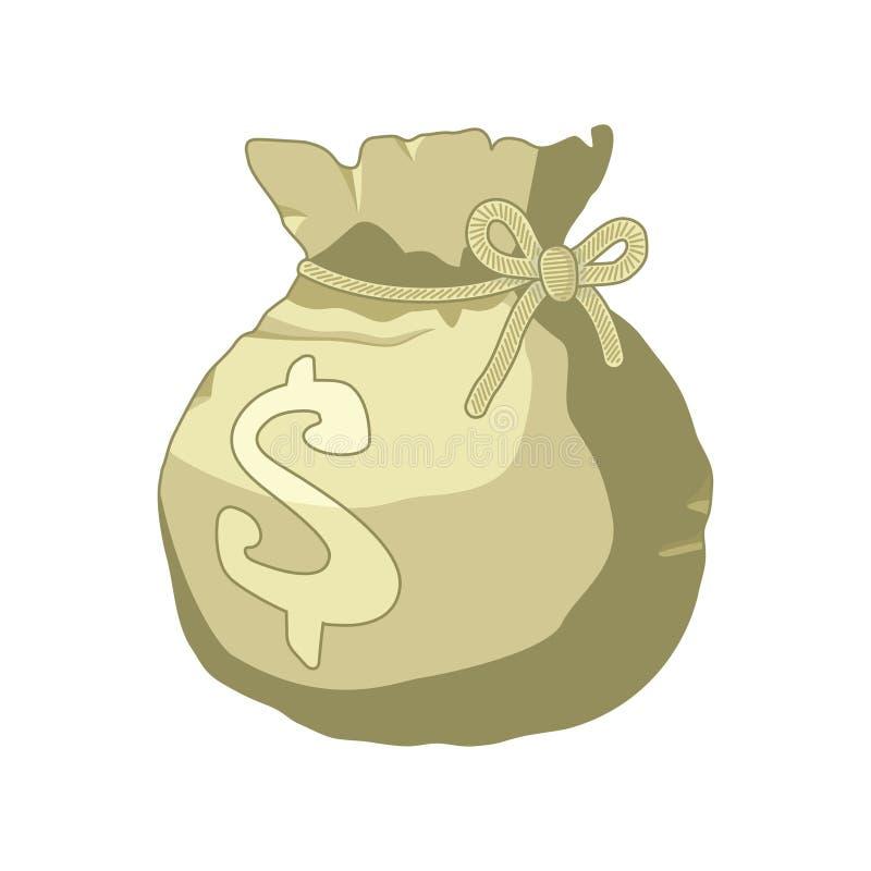 Saco do dinheiro ou ícone do estilo dos desenhos animados do saco com o sinal de dólar isolado no fundo branco ilustração royalty free