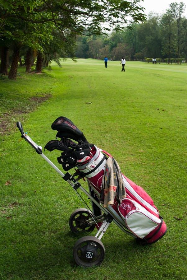 Saco do golfe no trole fotografia de stock royalty free