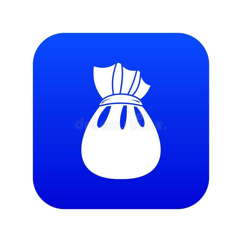 Saco do Natal do azul digital do ícone de Santa Claus ilustração stock