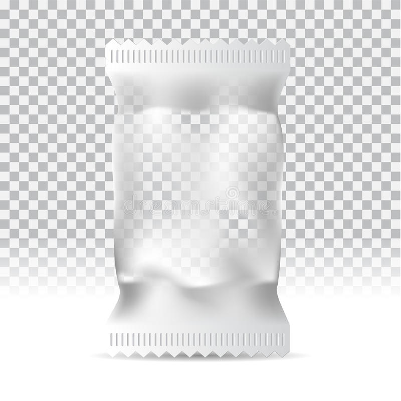 Saco do petisco do alimento no fundo transparente A zombaria de empacotamento vazia acima pode ser uso para o molde seu projeto,  ilustração do vetor