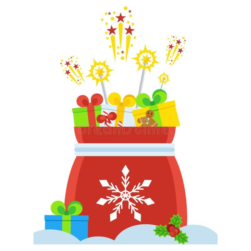 Download Saco do presente de Santa ilustração do vetor. Ilustração de bastões - 80101160