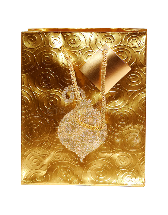 Saco do presente do ouro fotos de stock royalty free