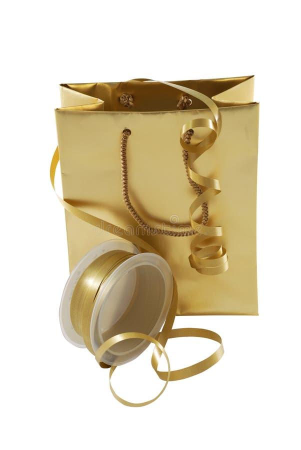 Saco do presente do ouro imagem de stock royalty free