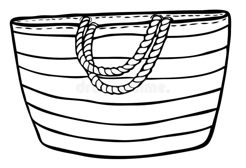 Saco do verão com listras e pontos - a corda segura ilustração do vetor
