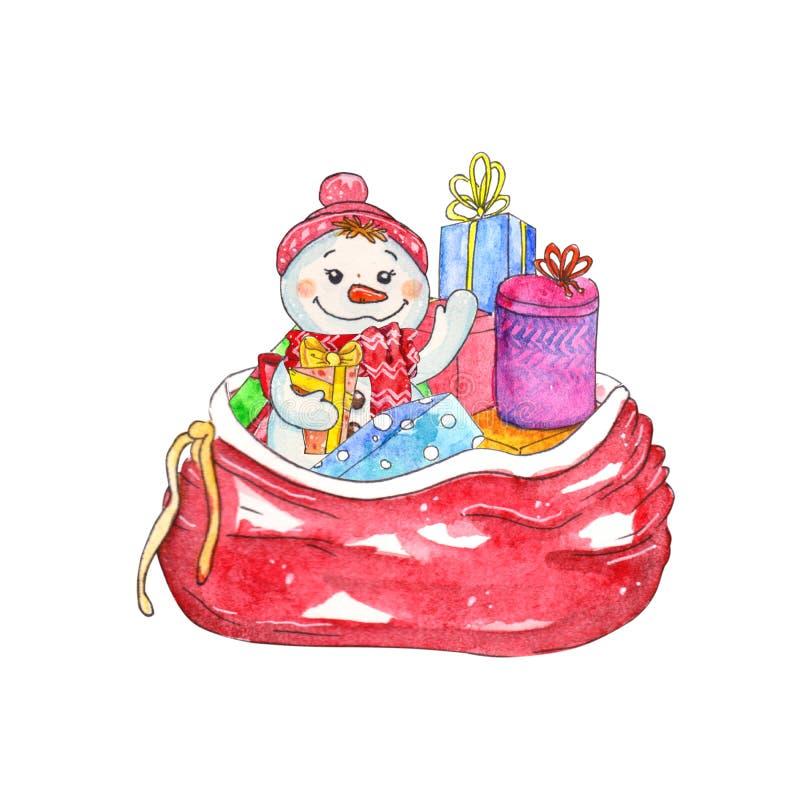 Saco dos brinquedos com elementos do Natal ilustração royalty free