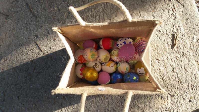 Saco dos ovos da páscoa fotografia de stock