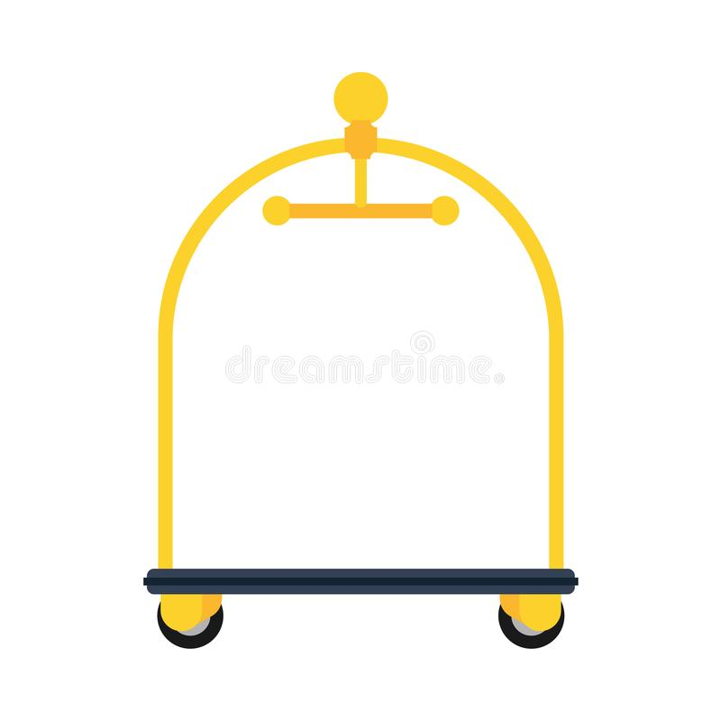 Saco dourado da recepção da bagagem do serviço do ícone do vetor do carro do hotel Gancho do negócio do motel da sala do curso Mo ilustração royalty free