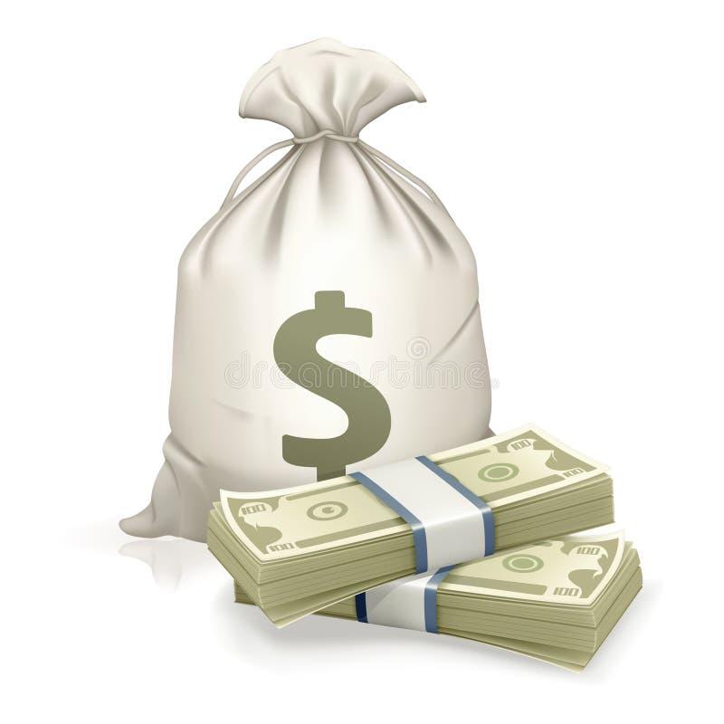 Saco e dinheiro ilustração stock