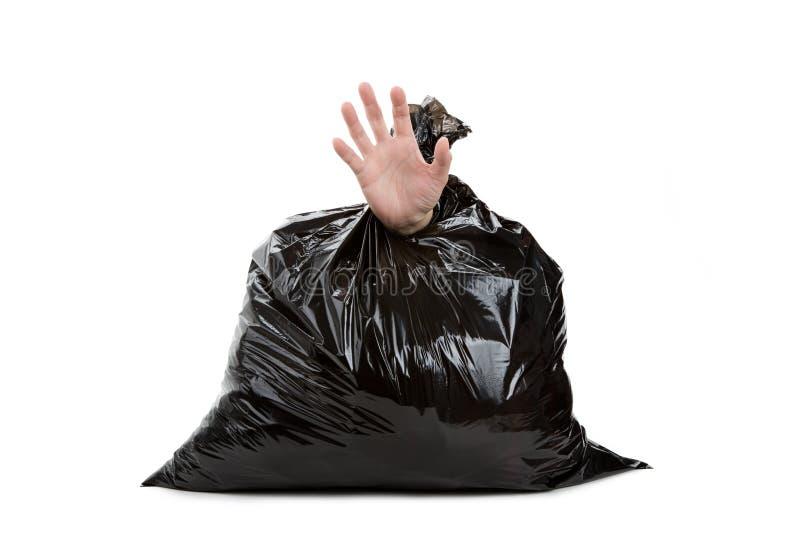 Saco e mão de lixo fotos de stock