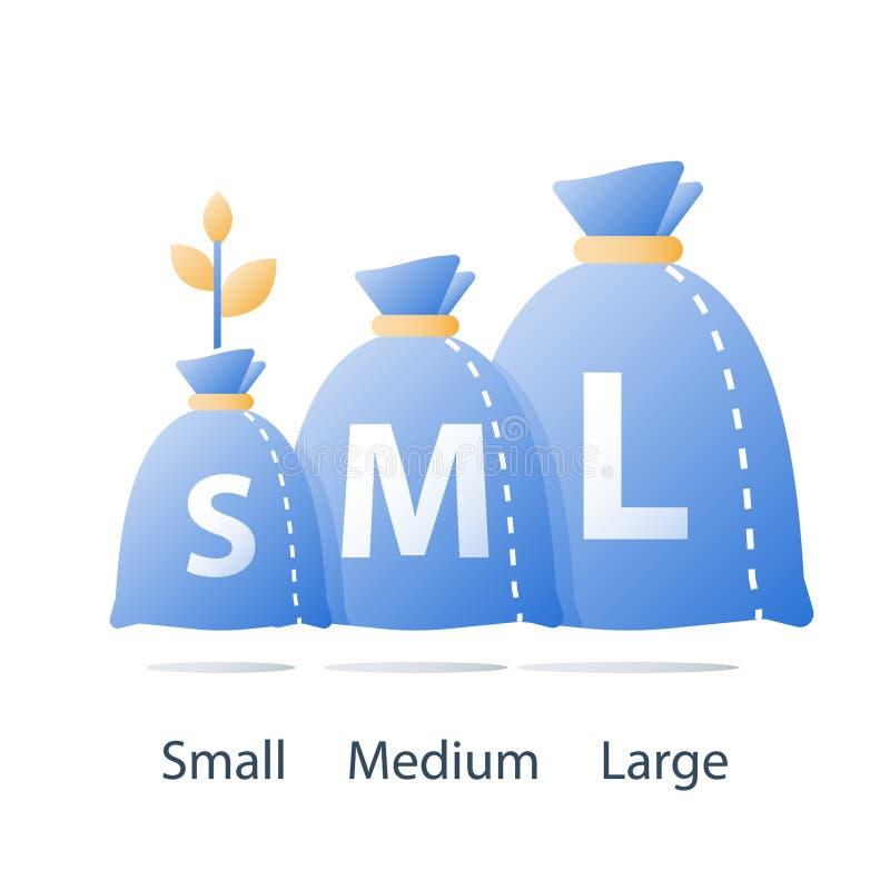 Saco financeiro do tamanho do empréstimo, o pequeno, o médio e o grande do dinheiro, risco de investimento do alto e baixo, angar ilustração royalty free
