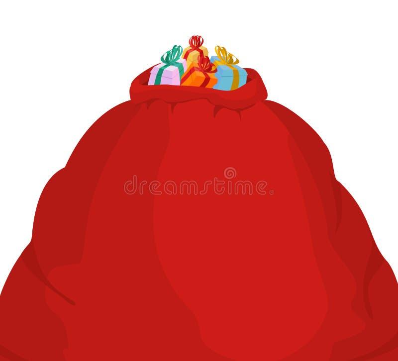 Saco grande de Santa Grande vermelho do saco do Natal presente sackful para o childr ilustração royalty free
