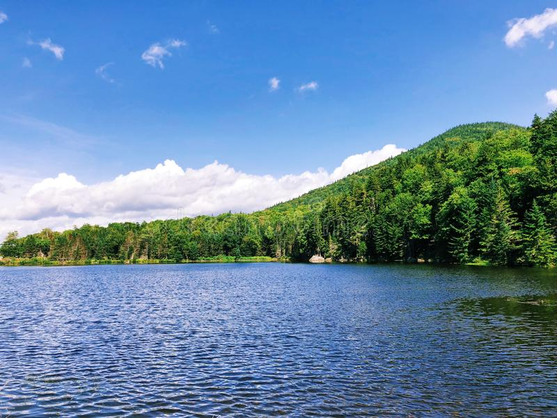 Saco lake summer view in Crawford Notch. Saco lake summer view near Crawford Depot Railway Station at the top of Crawford Notch near Carroll town, New Hampshire stock images