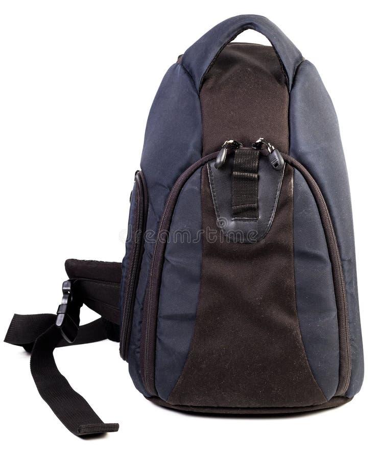Saco preto e azul usado da câmera da tela isolado no fundo branco foto de stock