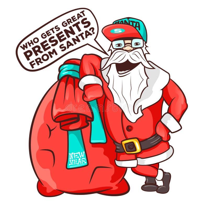 Saco que lleva de Papá Noel por completo de regalos ilustración del vector