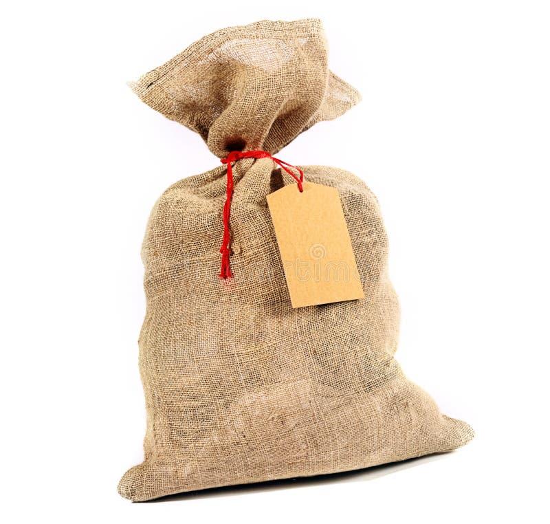 Saco r stico de la arpillera con una etiqueta del regalo - Saco arpillera ...
